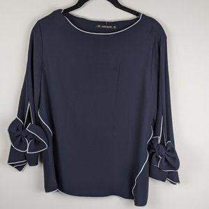 Zara dark navy blouse bow sleeves